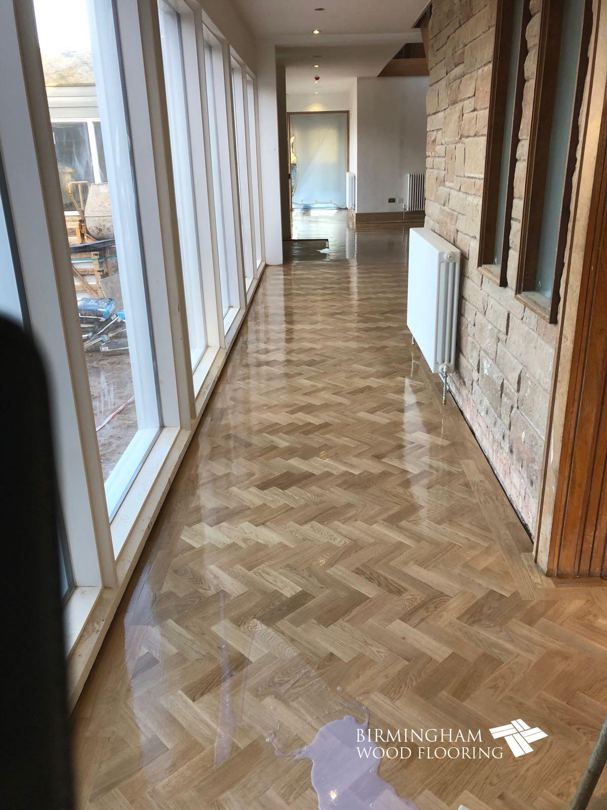 Oak parquet flooring finished with Bona traffic HD floor lacquer
