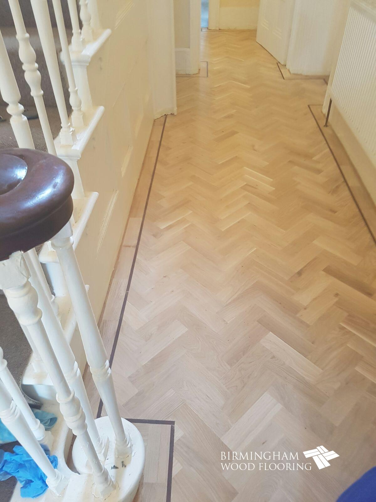 Parquet-floor-with-Wenge-Feature-strip-installed